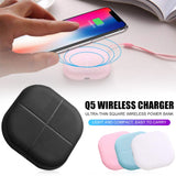 QI Ultra-thin Wireless Charger Mini Portable Square Power Bank Charging for Samsung iPhone