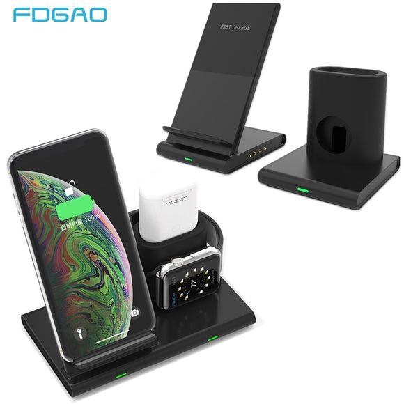 Qi Wireless Charging Dock Station for Apple Watch Series 4 3 2 Samsung iPhone Airpods