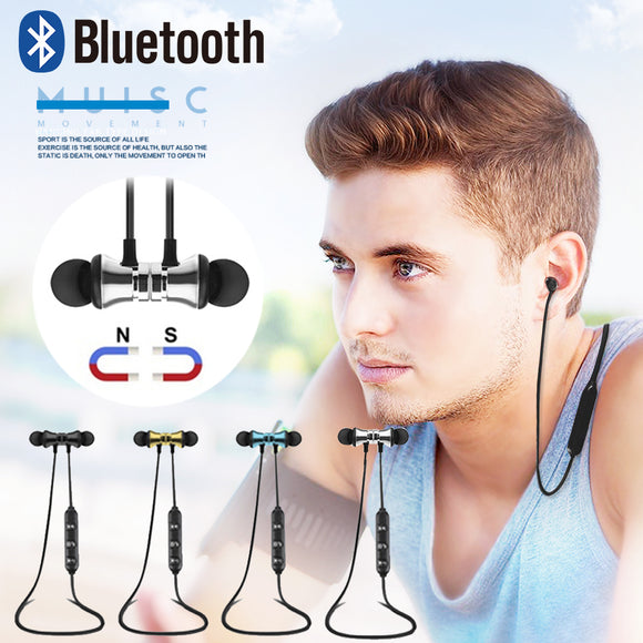Bluetooth Magnetic neckband headset sport microphone earbuds