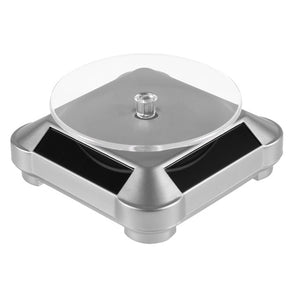 360 Turntable Solar Showcase Automatic Rotating Stand For Necklace Bracelet 110*110*50mm Watch Display