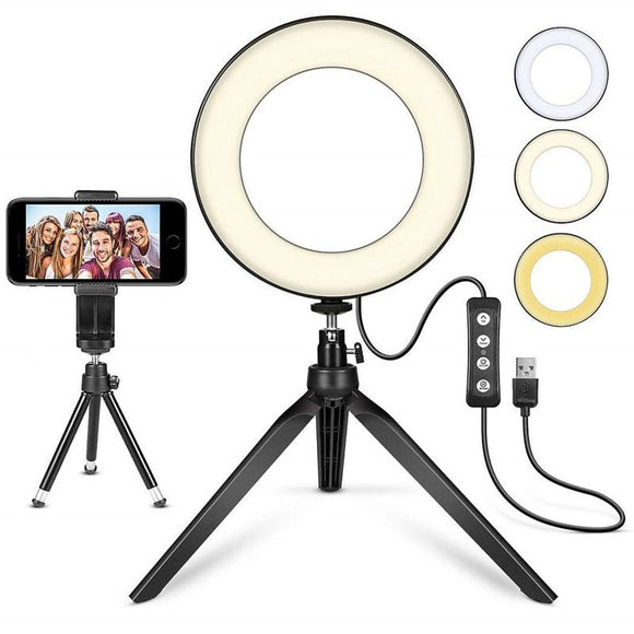 Ring Light Tripod Stand Phone Holder Makeup Photography Selfie Flash Mini Camera Bright Lamp