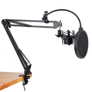 Microphone Scissor Arm Stand & Table Mounting Clamp Filter Windscreen Shield