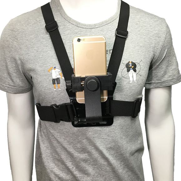 Cell Phone Chest Mount Harness Strap Holder Mobile Phone Clip