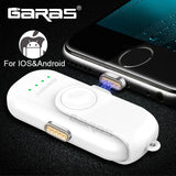 GARAS Magnetic Power Bank For iPhone/Micro USB/Type C 1000mAh iPhone/iPad/Xiaomi/LG