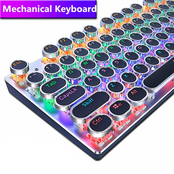 Round Keycap Gaming Mechanical USB Wired LED Backlight Keyboard for PC