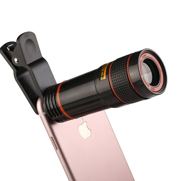 Mobile Phone Camera Lens 12X Zoom Telephoto Lens External Telescope With Universal Clip