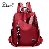 Simple style ladies backpack anti-theft Oxford cloth