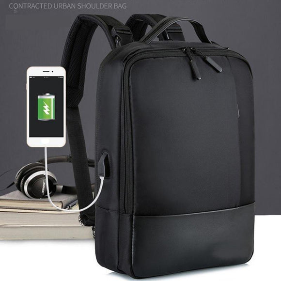 Laptop Soft With USB Port Zipper Waterproof Anti-theft Backpack