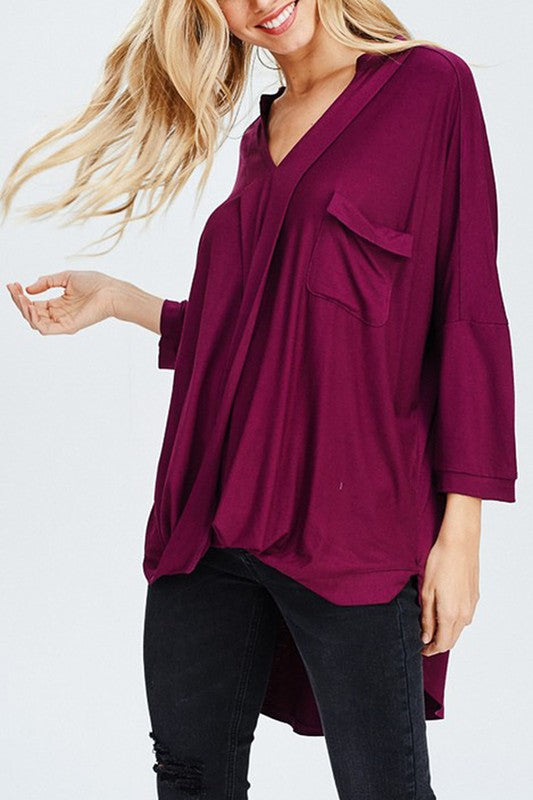 FALLING IN LOVE TOP- BURGUNDY