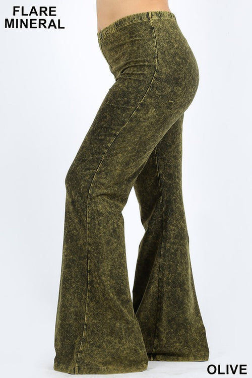 Mineral Flare Pant Plus Size-Olive