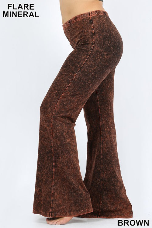 Mineral Flare Pant Plus Size-Brown