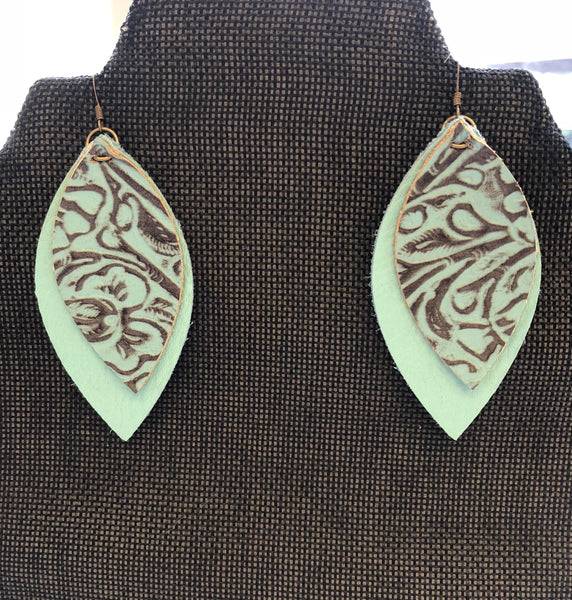 Orchard Bae Teal Print Leather Earings