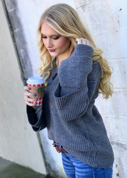 Boston Babe Sweater- Grey