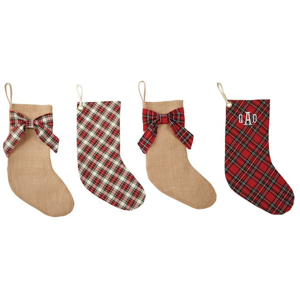 Red Plaid Bow Stocking