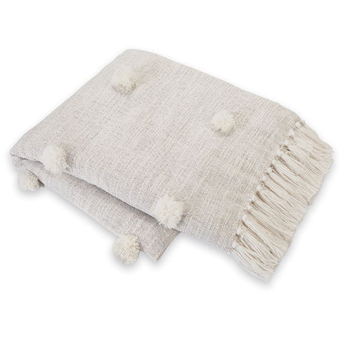 Pom-Pom Throw Blanket- White