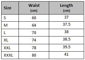 mens gym shorts apollo size chart