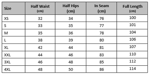 new track pants size guide