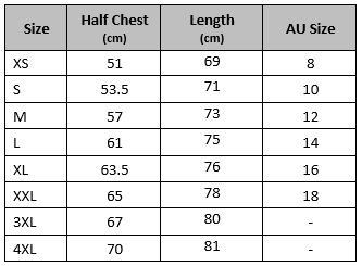 zip-up hoodie size guide
