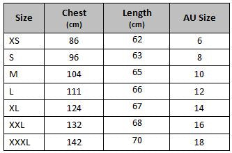 zip up gym hoodie size chart