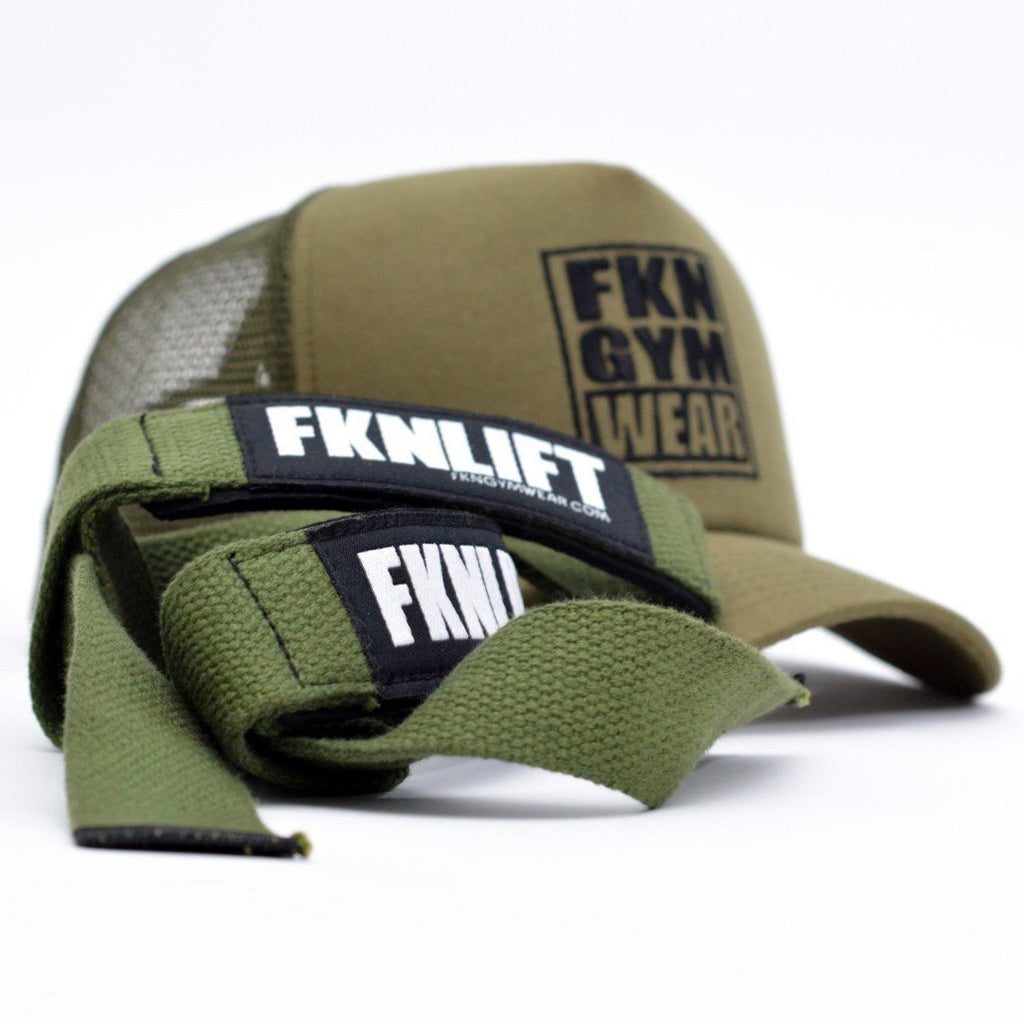 Training Cap & Straps Gym Pack - Khaki, FKN Gym Wear, Package