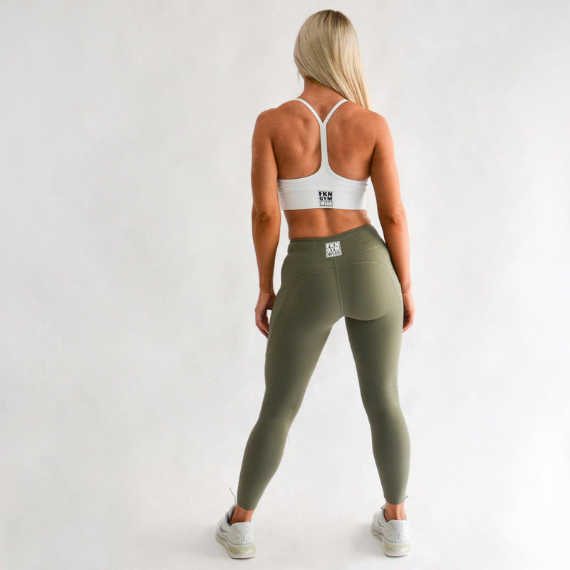 Workout Set | White Crop & A2G Leggings - FKN Gym Wear