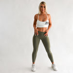 Workout Set | White Crop & A2G Leggings | Khaki