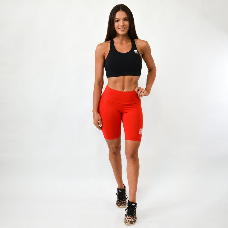 Workout Set | Black Crop Top & Red Scrunch Bum Bike Shorts