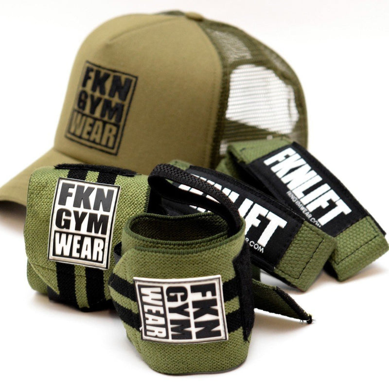 Training Cap, Straps And Wraps Pack - Khaki, FKN Gym Wear, Pack
