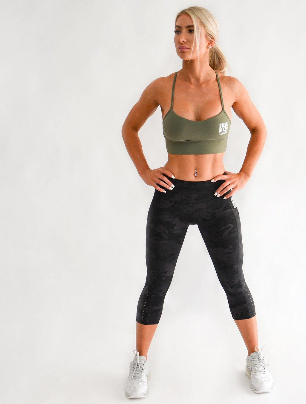 Workout Set | Khaki Crop & 7/8 Camo Leggings - FKN Gym Wear