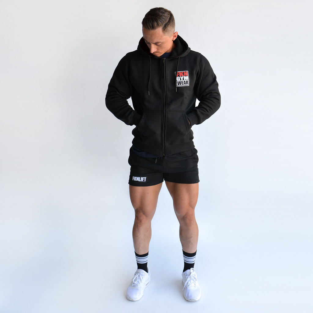 Men's Zip Up Gym Hoodie - Black, FKN Gym Wear, Front Full