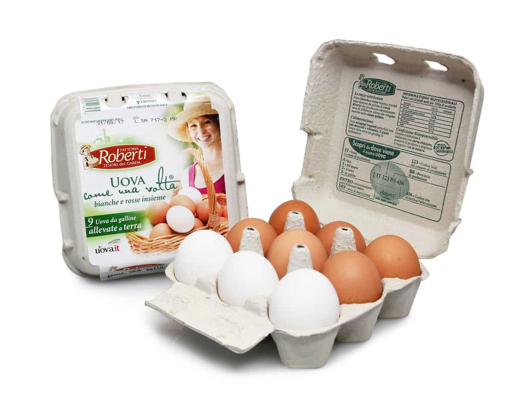 9 Uova Fresche Bianche & Rosse Insieme - Fresh Eggs (From Mix of Red & White Chickens)