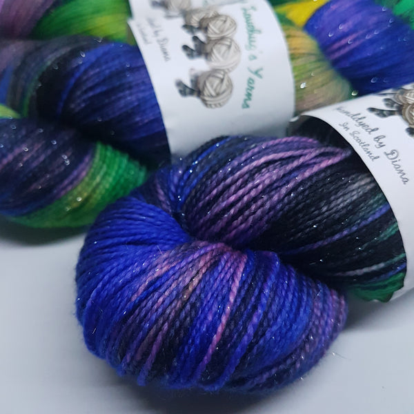 Orchid Bee - Sparkle Sock - Superwash Merino Nylon Stelina - Fingering weight yarn