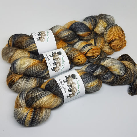 Mechanical Twist - Bronze Sparkle Sock - Superwash Merino Nylon Stelina - Fingering weight yarn