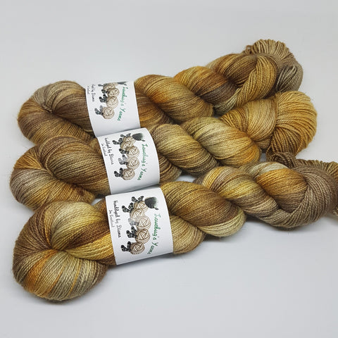 Clockwork - Bronze Sparkle Sock - Superwash Merino Nylon Stelina - Fingering weight yarn