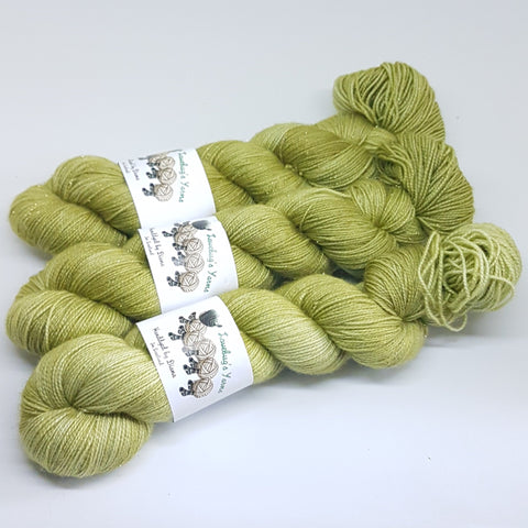 Peridot - Gold Sparkle Sock - Superwash Merino Nylon Gold Stelina - Fingering weight yarn