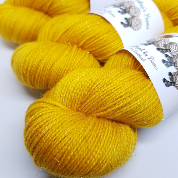 Candlelight - Gold Sparkle Sock - Superwash Merino Nylon Gold Stelina - Fingering weight yarn