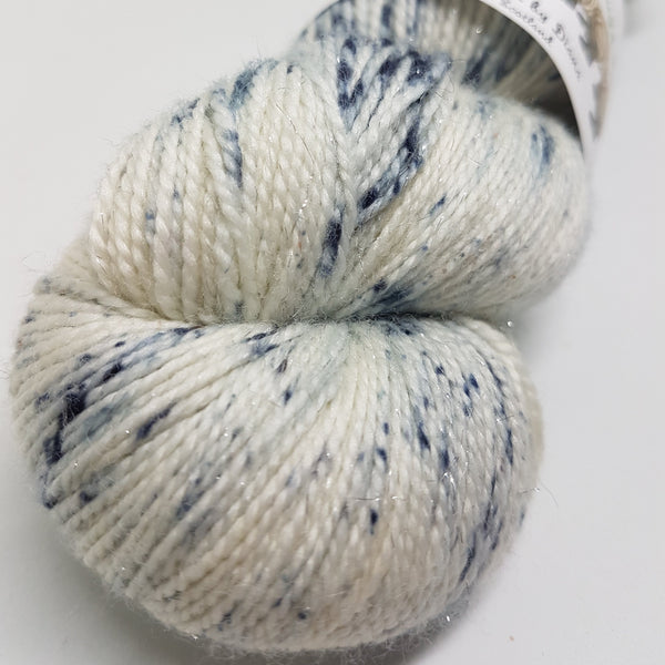 Snowy Owl - Sparkle Sock - Superwash Merino Nylon Stelina - Fingering weight yarn