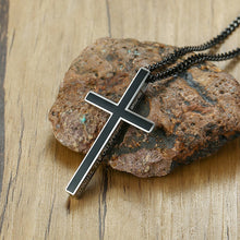 Load image into Gallery viewer, I Can Do All Things Philippians 4:13 Black Stainless Steel Etched Chain Necklace