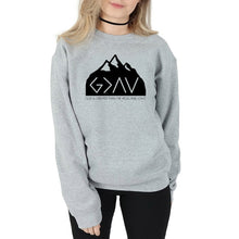 Load image into Gallery viewer, God Is Greater Than the Highs and Lows Mountaintop Sweatshirt