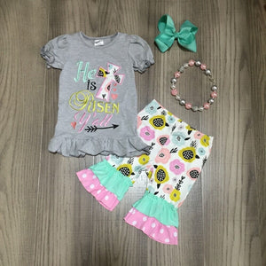 He Is Risen Easter Ruffle Flare Children's Set with Matching Bow and Necklace