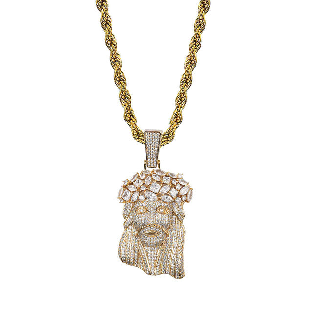 18K Gold or .925 Silver Plated Jesus Piece With Chain Necklace