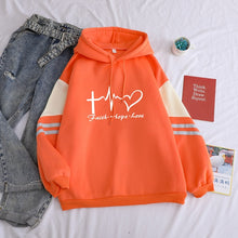 Load image into Gallery viewer, Faith Hope Love Pastel Fall Hoodie