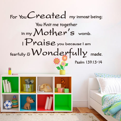 Psalm 139:13-14 Nursery Wall Vinyl