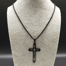 Load image into Gallery viewer, Black Stainless Cross Chain
