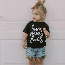 Load image into Gallery viewer, Love Never Fails Children's Tshirt