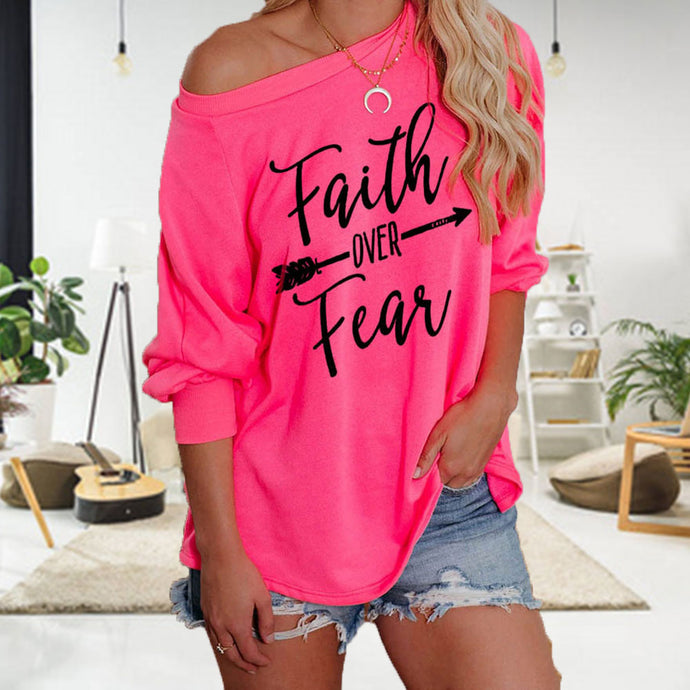 Faith Over Fear Off-Shoulder Fashion Sweater