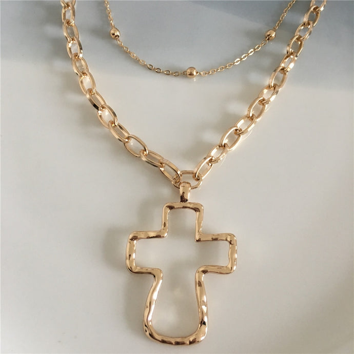 18K Gold Plated Hammered Cross Necklace