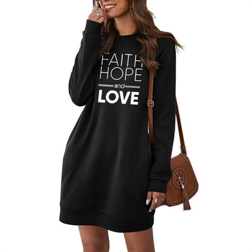 Faith Hope and Love Sweater Dress with Pockets