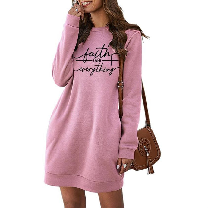 Faith Over Everything Sweater Dress with Pockets