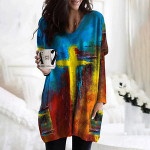 Paint Stroke Image and Likeness of a Creator Comfort Sweater with Pockets